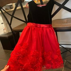 GIRLS RED/ BLACK HOLIDAY DRESS SZ 6X